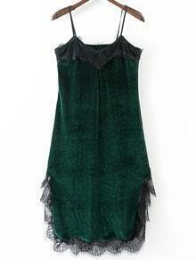 Green Eyelash Detail Velvet Cami Dress