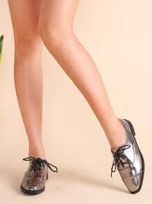 Sparkly Cap Toe Patent Leather Lace Up Oxfords