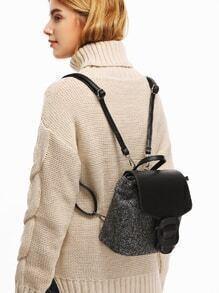 Black PU and Tartan Flap Buckle Mini Backpack