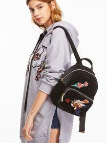 Samt Rucksack mit Vogel Stickereien Taschen-schwarz