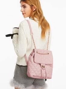 Pink PU Quilted Flap Drawstring Backpack