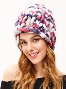 Multicolor Cable Knit Beanie Hat