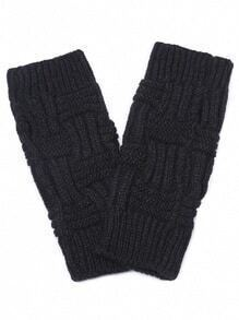 Black Textured Knit Fingerless Warm Gloves