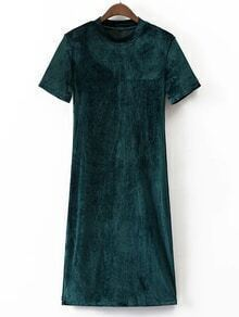 Dark Green Mock Neck Short Sleeve Velvet Dress