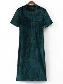Dark Green Mock Neck Short Sleeve Velvet Dress
