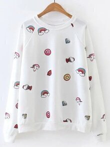 White Cartoon Print Raglan Sleeve Sweatshirt