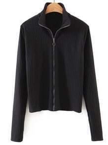 Black Zip Up Ribbed Knit T-shirt