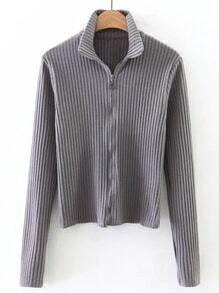Grey Zip Up Ribbed Knit T-shirt