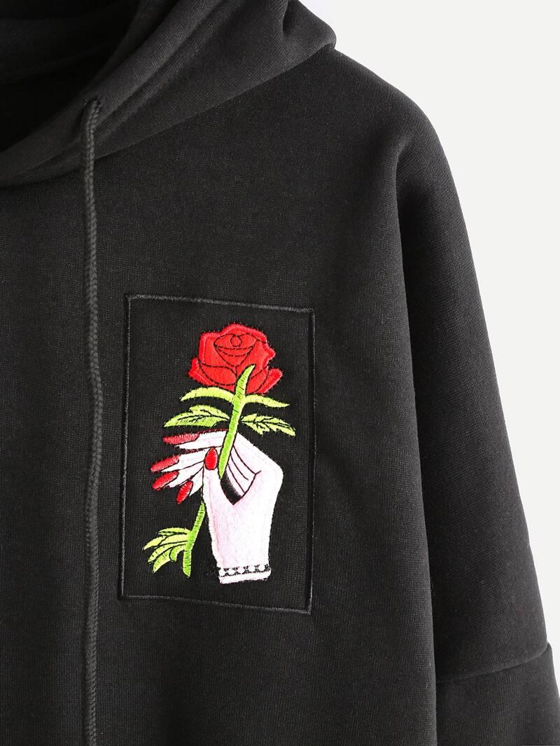 mejor baratas f0556 0eeec Sudadera hombro caído con bordado de mano y rosa de capucha con bolsillo -  negro