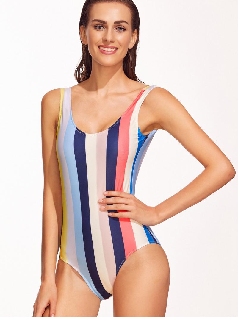 db40e7c6239a Bañador de rayas espalda abierta una pieza - multicolor