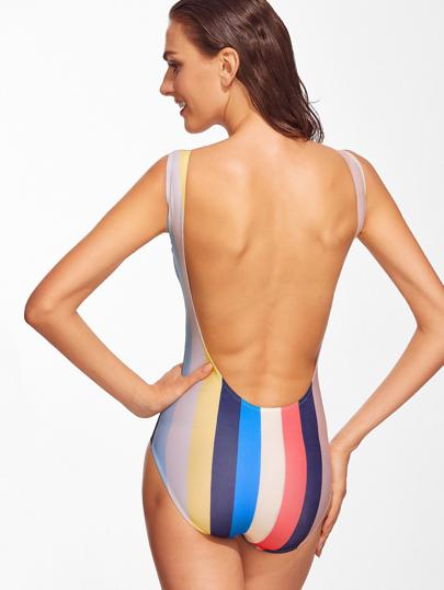 74fe085ebc Multicolor Striped Open Back One-Piece Swimwear | ROMWE