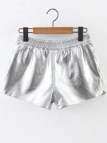 Silver Elastic Waist PU Shorts