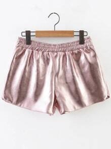Pink Elastic Waist PU Shorts