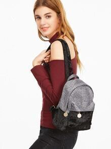Samt Rucksack Kontrast Extern Taschen-schwarz