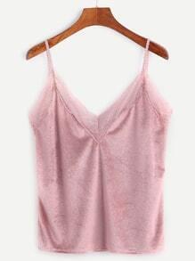 Pink Contrast Lace Trim Velvet Cami Top