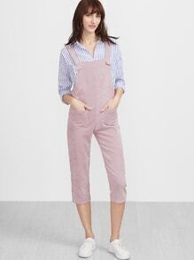Pink Strap Pockets Front Overall Corduroy Pants