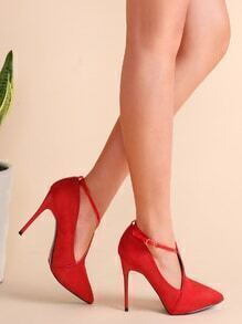 Red Suede Point Toe Cross Strap Stiletto Pumps