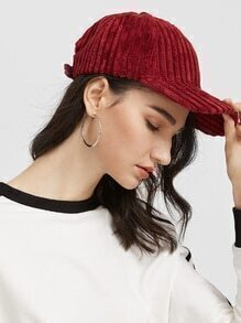 Burgundy Wide-wale Corduroy Warm Baseball Cap