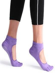 Purple Non Slip 5 Toe Grip Socks