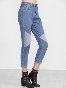 Blue Geo Contrast Slit Side Jeans
