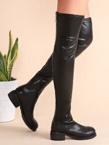 Black PU Leather Zip Back Over The Knee Boots
