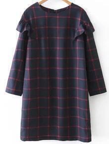 Grid Ruffle Detail Shift Dress