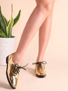 Gold Patent Leather Cap Toe Oxfords