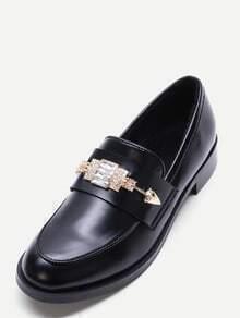 Black Faux Leather Embellished Loafer Flats