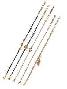 Multi Charm Embellished Bracelet Set