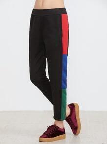 Black Contrast Panel Pocket Sweatpants