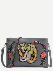 Grey Tiger Embroidered Patch Faux Leather Shoulder Bag