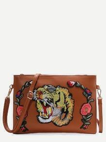 Brown Tiger Embroidered Patch Faux Leather Shoulder Bag