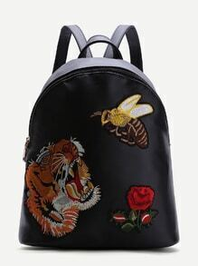 Black Animal Embroidered PU Backpack
