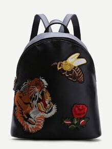 Black Animal Embroidered PU Backpack