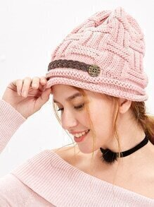 Pink Cable Knit Beanie Hat