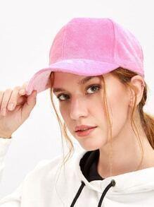Pink Furry Velvet Baseball Cap