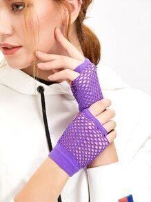 Purple Fingerless Nylon Mesh Golves