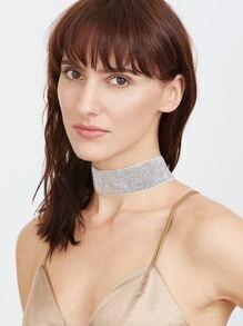 Glittery Silver Wide Choker Necklace