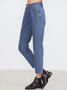 Blue High Waist Pocket Plain Jeans