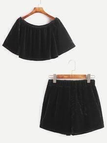 Boat Neck Velvet Crop Top With Elastic Waist Shorts