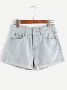 Pale Blue Rolled Hem Denim Shorts