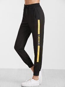 Black Print Side Tie Waist Sweatpants