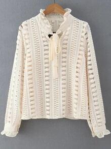 Beige Ruffle Trim Lace Crochet Blouse With Tie