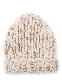 Beige and Khaki Cream Knit Beanie Hat