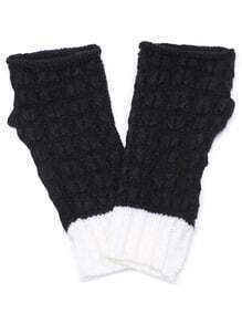 Black and White Textured Knit Handwarmmers