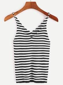 Black White Striped Ribbed Knit Tight Cami Top