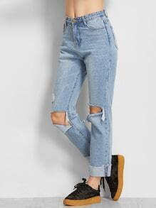 Blue Stone Wash Rolled Hem Distressed Jeans