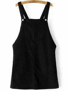 Black Corduroy Overall Dress With Pocket