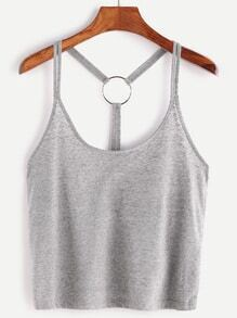 Heather Grey Ring Accent Back Cami Top