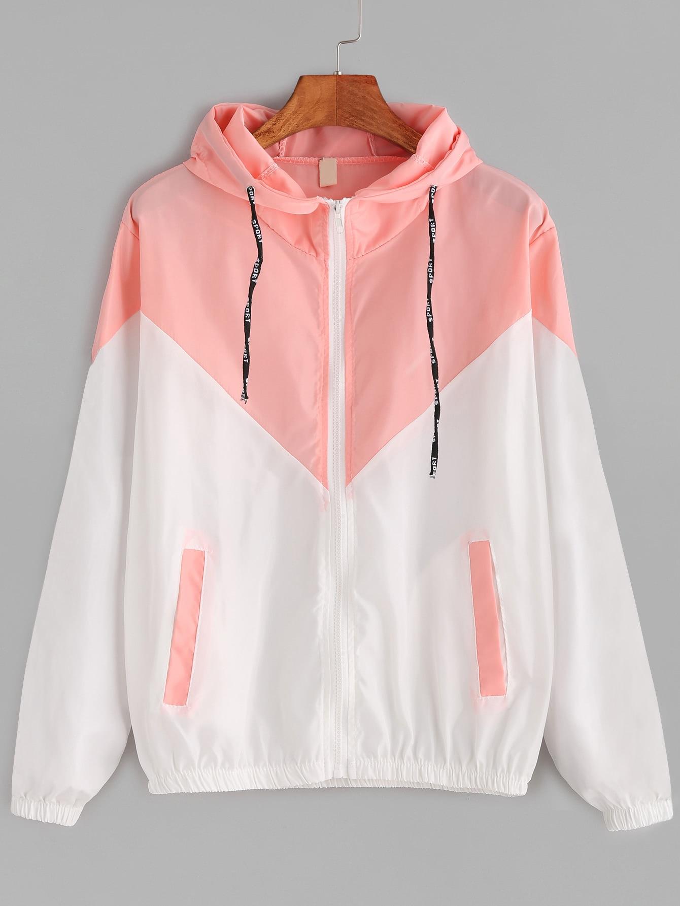 Contrast Drawstring Hooded Zip Up JacketFor Women-romwe